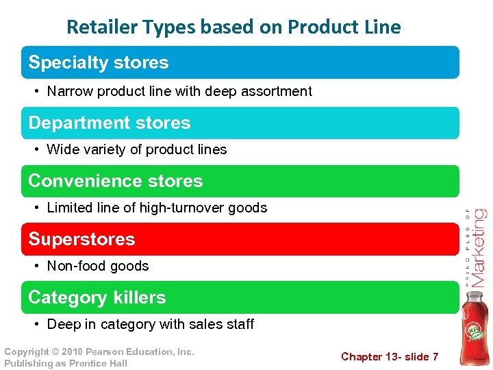 Retailer Types based on Product Line Specialty stores • Narrow product line with deep