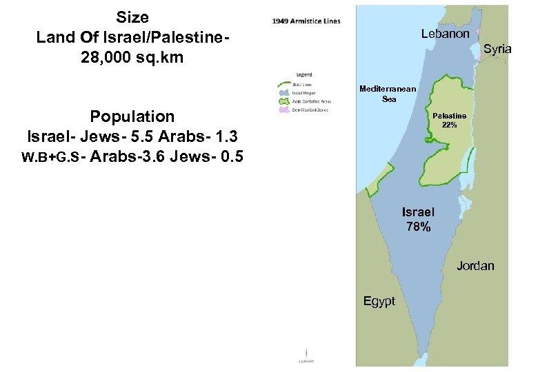 Size Land Of Israel/Palestine 28, 000 sq. km Lebanon Syria Mediterranean Sea Population Israel-
