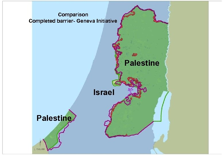 Comparison Completed barrier- Geneva Initiative Palestine Israel Palestine