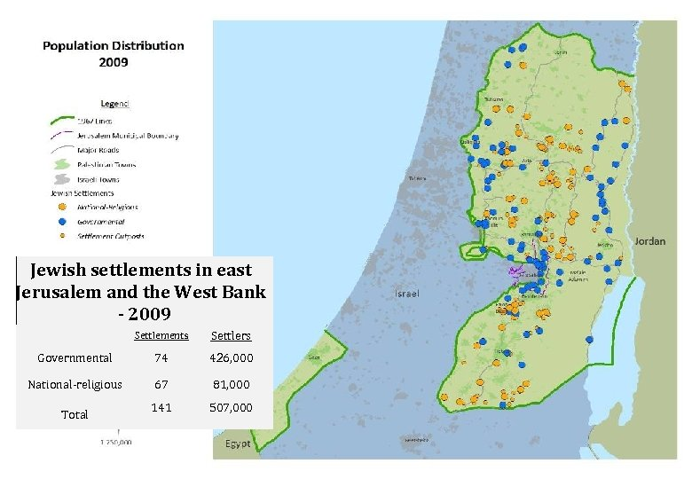 Jewish settlements in east Jerusalem and the West Bank - 2009 Settlements Settlers Governmental