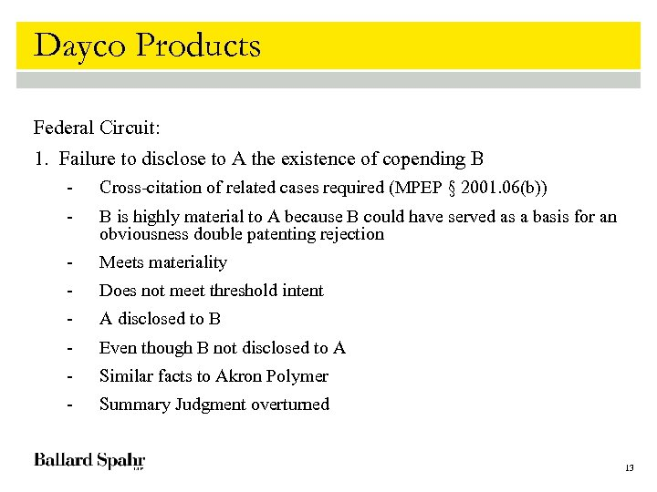 Dayco Products Federal Circuit: 1. Failure to disclose to A the existence of copending