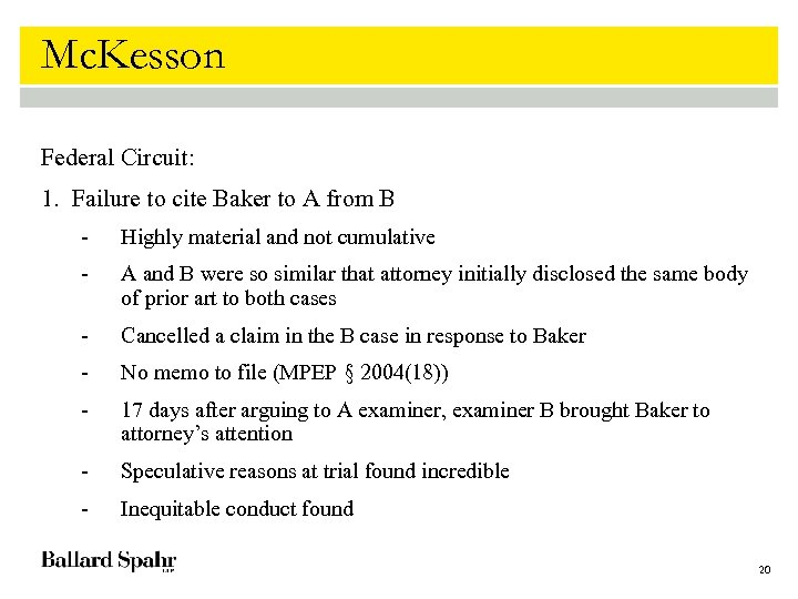 Mc. Kesson Federal Circuit: 1. Failure to cite Baker to A from B -