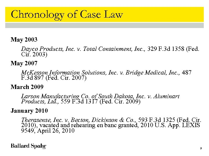 Chronology of Case Law May 2003 Dayco Products, Inc. v. Total Containment, Inc. ,