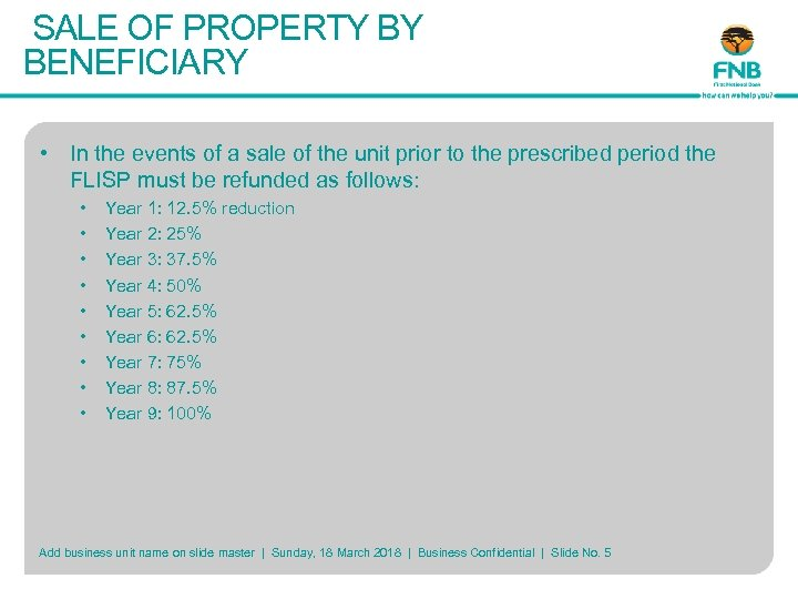 SALE OF PROPERTY BY BENEFICIARY • In the events of a sale of the