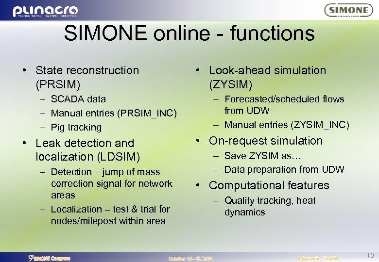 SIMONE online - functions • State reconstruction (PRSIM) – SCADA data – Manual entries
