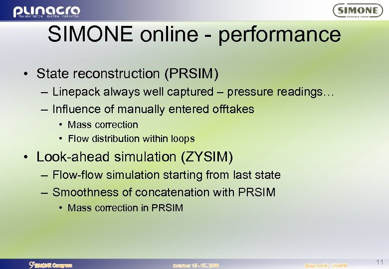SIMONE online - performance • State reconstruction (PRSIM) – Linepack always well captured –