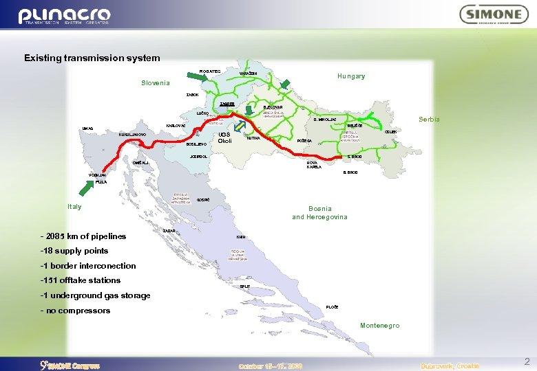 Existing transmission system ROGATEC VARAŽDIN Hungary Slovenia ZABOK ZAGREB BJELOVAR LUČKO Serbia D. MIHOLJAC