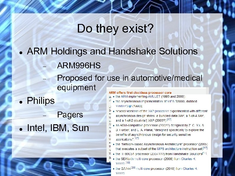 Do they exist? ARM Holdings and Handshake Solutions ARM 996 HS Proposed for use