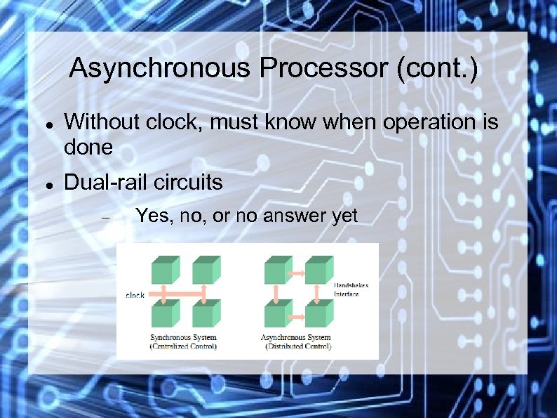 Asynchronous Processor (cont. ) Without clock, must know when operation is done Dual-rail circuits