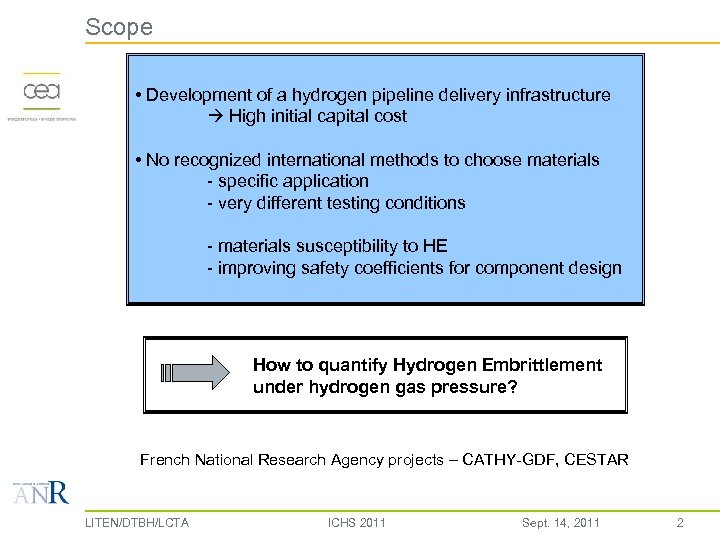 Scope • Development of a hydrogen pipeline delivery infrastructure High initial capital cost •