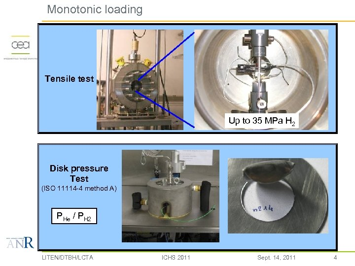 Monotonic loading Tensile test Up to 35 MPa H 2 Disk pressure Test (ISO