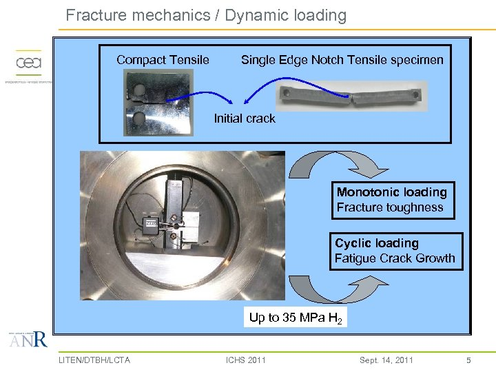 Fracture mechanics / Dynamic loading Compact Tensile Single Edge Notch Tensile specimen Initial crack