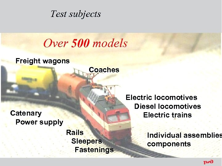 Test subjects Over 500 models Freight wagons Coaches Electric locomotives Diesel locomotives Electric trains