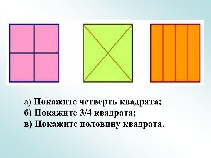 а) Покажите четверть квадрата; б) Покажите 3/4 квадрата; в) Покажите половину квадрата.