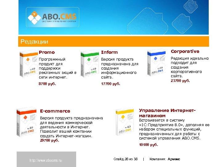 Редакции Promo Inform Corporative Программный продукт для поддержки рекламных акций в сети интернет. Версия
