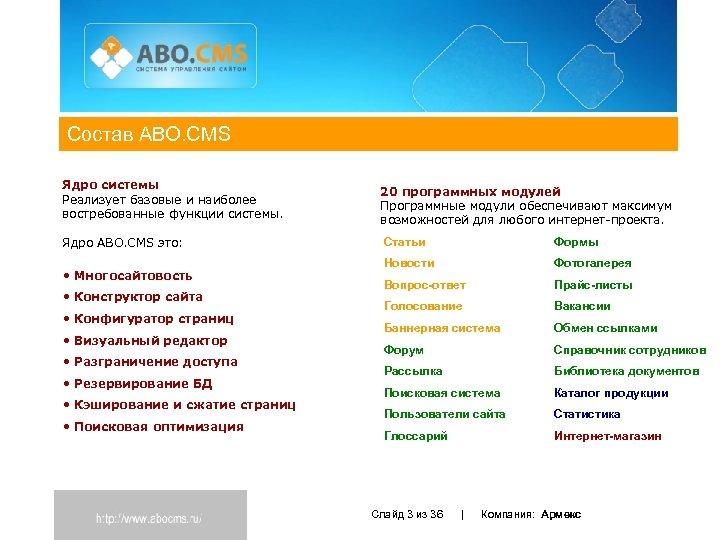 Состав ABO. CMS Ядро системы Реализует базовые и наиболее востребованные функции системы. Ядро ABO.