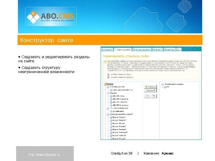 Конструктор сайта • Создавать и редактировать разделы на сайте • Создавать структуру неограниченной вложенности