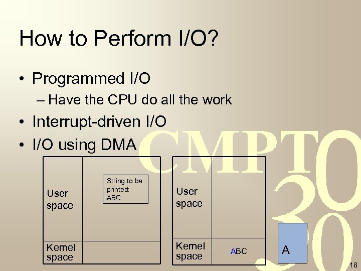 How to Perform I/O? • Programmed I/O – Have the CPU do all the