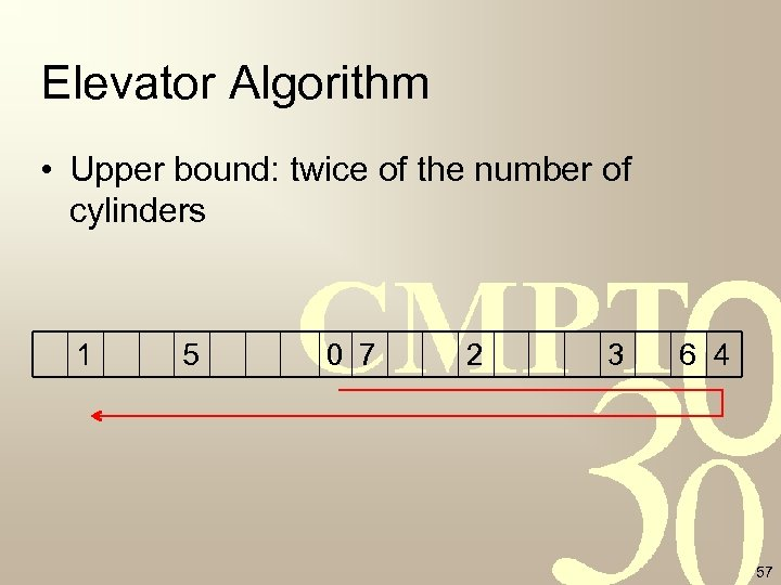 Elevator Algorithm • Upper bound: twice of the number of cylinders 1 5 0