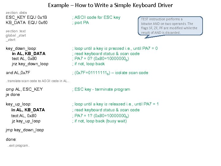 Example – How to Write a Simple Keyboard Driver section. data ESC_KEY EQU 0