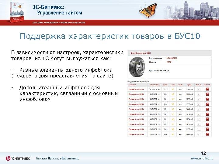 Поддержка характеристик товаров в БУС 10 В зависимости от настроек, характеристики товаров из 1