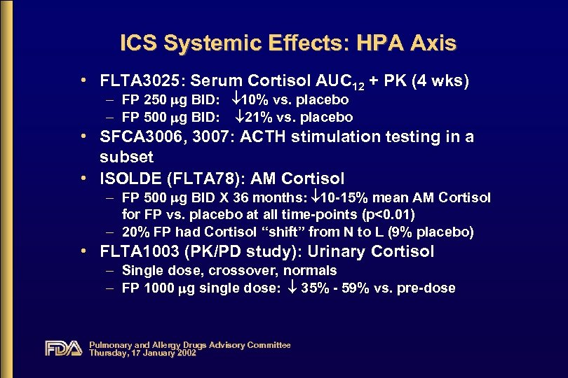 ICS Systemic Effects: HPA Axis • FLTA 3025: Serum Cortisol AUC 12 + PK