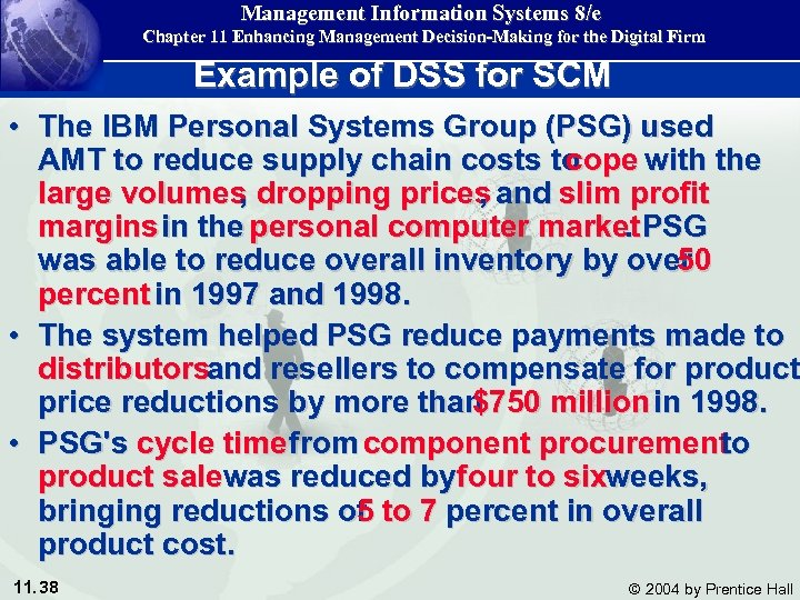 Management Information Systems 8/e Chapter 11 Enhancing Management Decision-Making for the Digital Firm Example