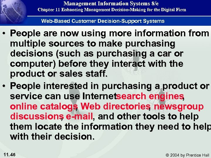 Management Information Systems 8/e Chapter 11 Enhancing Management Decision-Making for the Digital Firm Web-Based