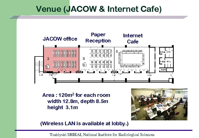 Venue (JACOW & Internet Cafe) JACOW office Paper Reception Internet Cafe Area : 120