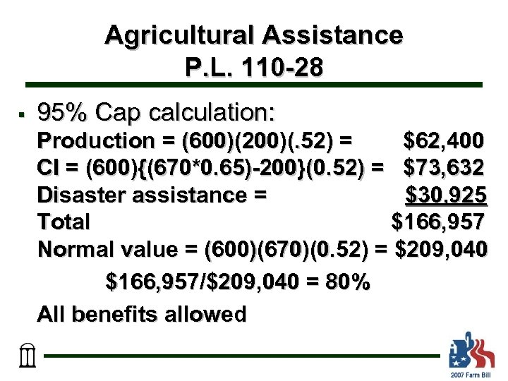 Agricultural Assistance P. L. 110 -28 § 95% Cap calculation: Production = (600)(200)(. 52)