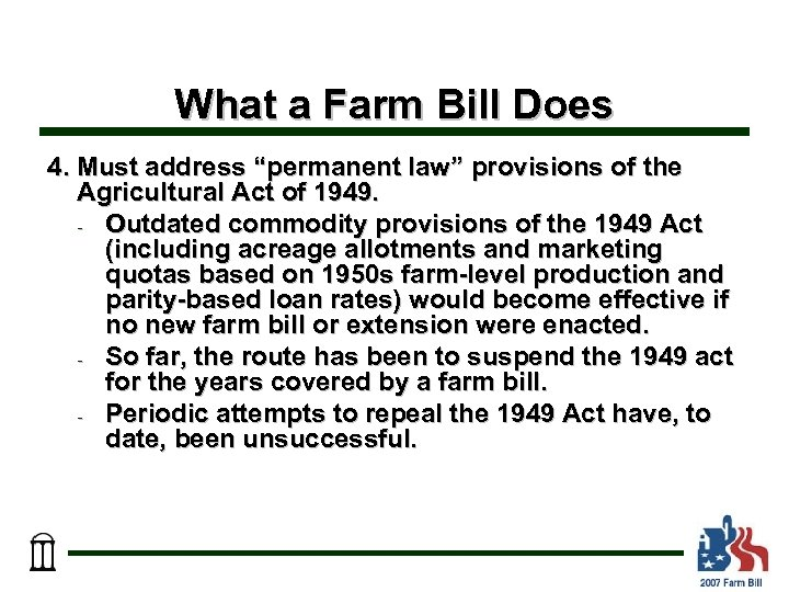"What a Farm Bill Does 4. Must address ""permanent law"" provisions of the Agricultural"