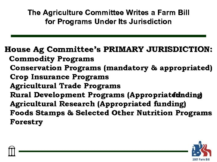 The Agriculture Committee Writes a Farm Bill for Programs Under Its Jurisdiction House Ag