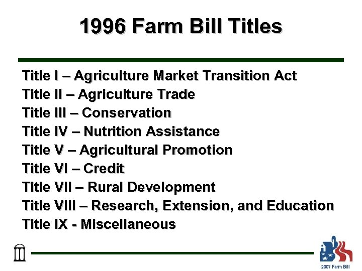 1996 Farm Bill Titles Title I – Agriculture Market Transition Act Title II –
