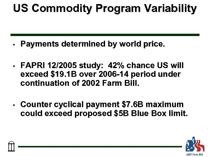 US Commodity Program Variability § Payments determined by world price. § FAPRI 12/2005 study: