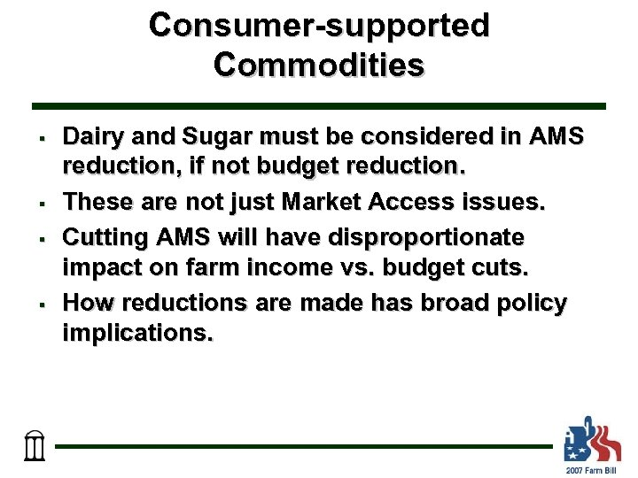Consumer-supported Commodities § § Dairy and Sugar must be considered in AMS reduction, if