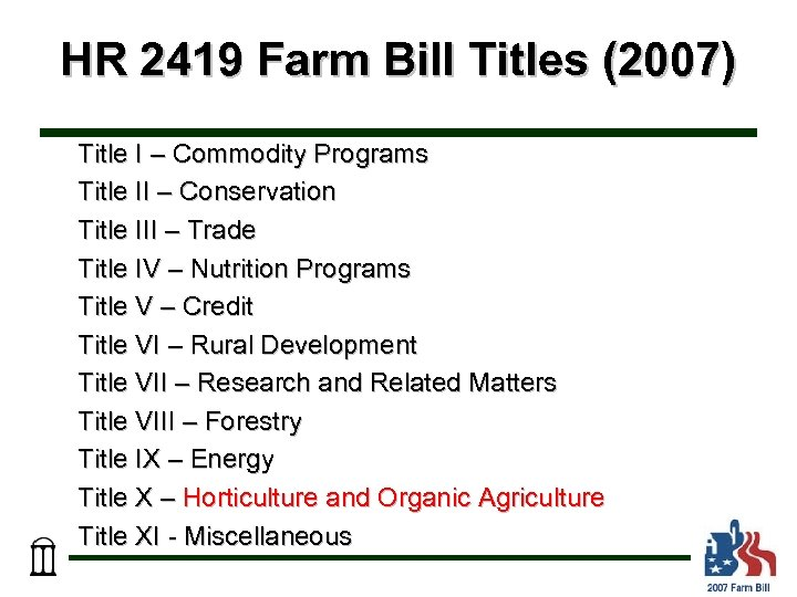 HR 2419 Farm Bill Titles (2007) Title I – Commodity Programs Title II –