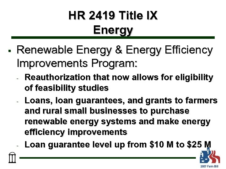 HR 2419 Title IX Energy § Renewable Energy & Energy Efficiency Improvements Program: -