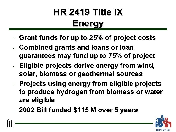 HR 2419 Title IX Energy - - Grant funds for up to 25% of