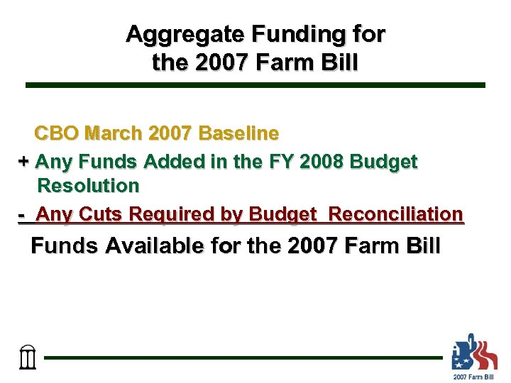 Aggregate Funding for the 2007 Farm Bill CBO March 2007 Baseline + Any Funds