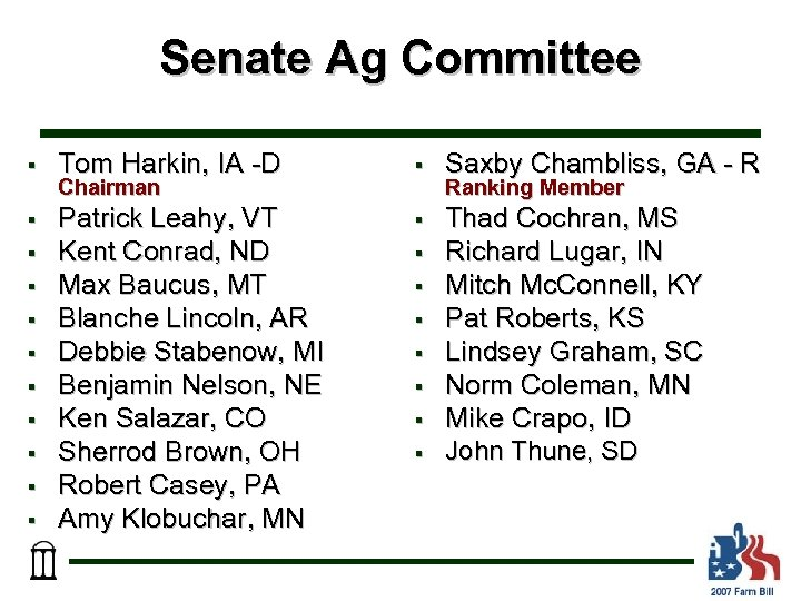 Senate Ag Committee § Tom Harkin, IA -D § Saxby Chambliss, GA - R