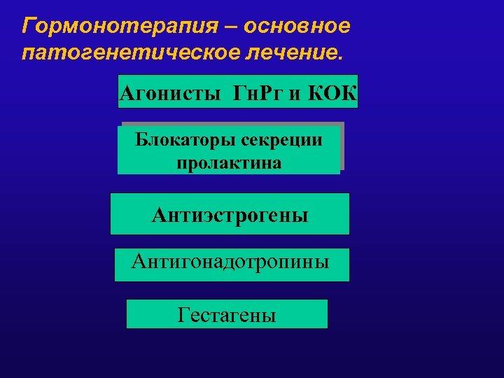 Гормонотерапия – основное патогенетическое лечение. Агонисты Гн. Рг и КОК Блокаторы секреции пролактина Антиэстрогены