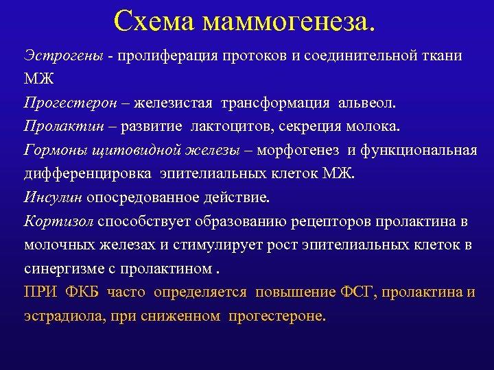 Схема маммогенеза. Эстрогены - пролиферация протоков и соединительной ткани МЖ Прогестерон – железистая трансформация