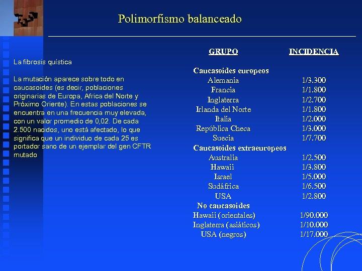 Polimorfismo balanceado GRUPO INCIDENCIA La fibrosis quística La mutación aparece sobre todo en caucasoides