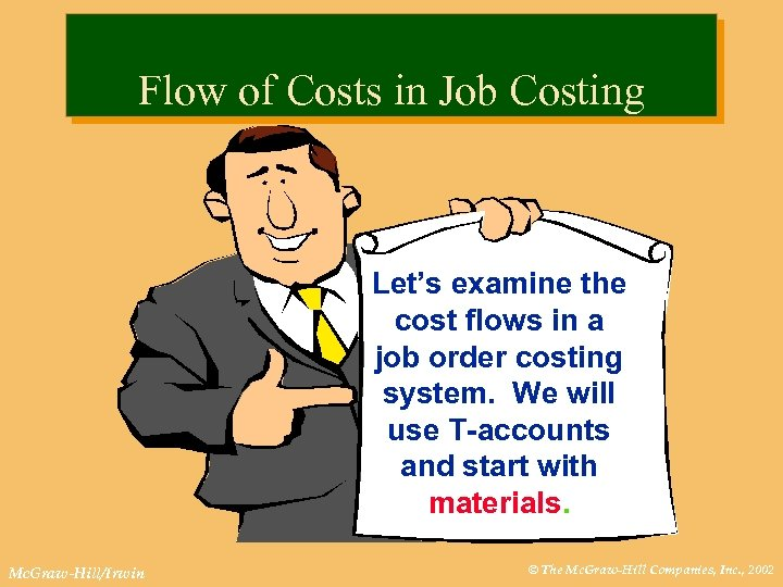 Flow of Costs in Job Costing Let's examine the cost flows in a job