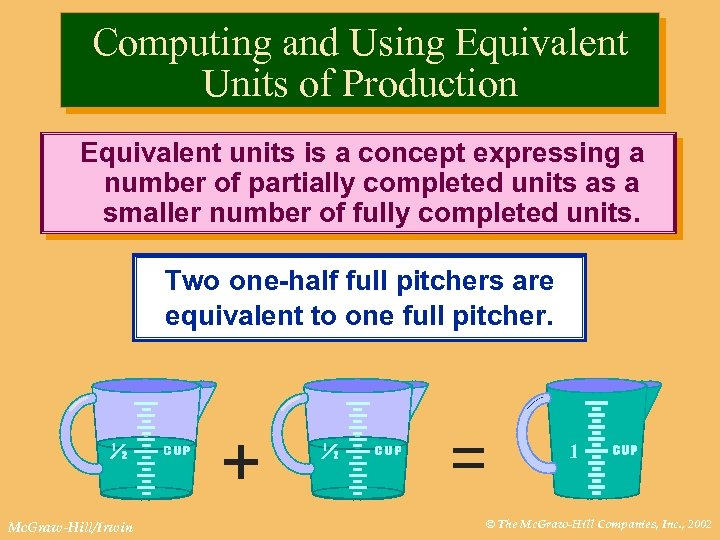 Computing and Using Equivalent Units of Production Equivalent units is a concept expressing a