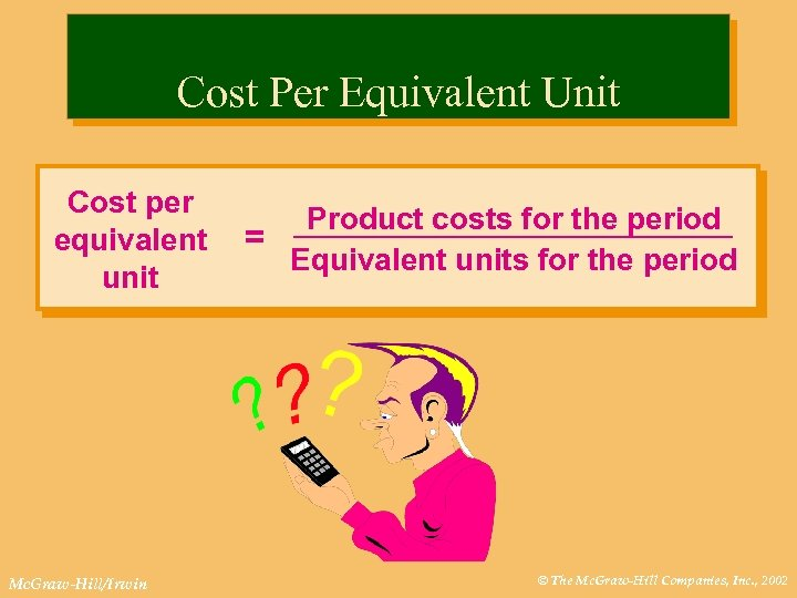 Cost Per Equivalent Unit Cost per equivalent unit Mc. Graw-Hill/Irwin Product costs for the