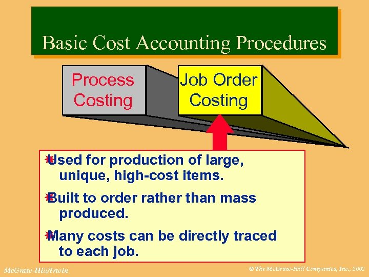 Basic Cost Accounting Procedures Process Costing Job Order Costing Used for production of large,