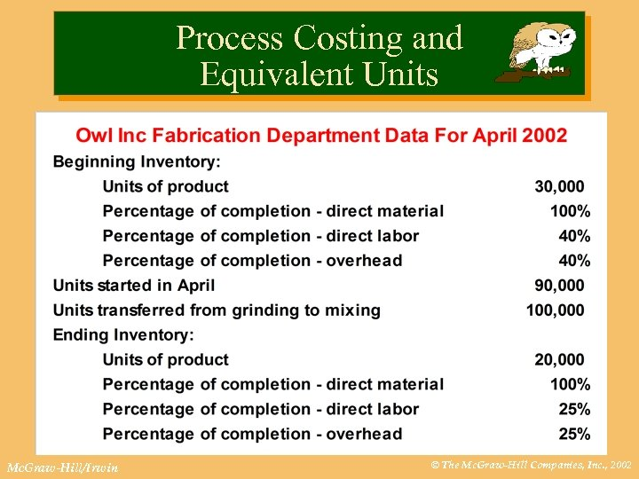 Process Costing and Equivalent Units Mc. Graw-Hill/Irwin © The Mc. Graw-Hill Companies, Inc. ,
