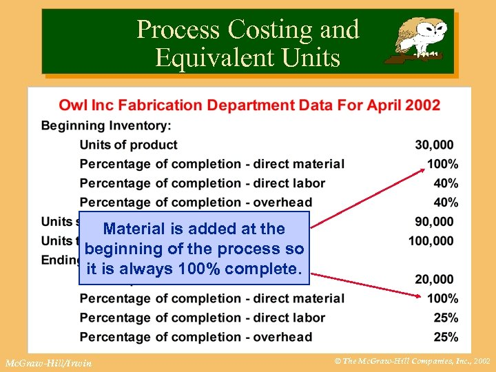 Process Costing and Equivalent Units Material is added at the beginning of the process