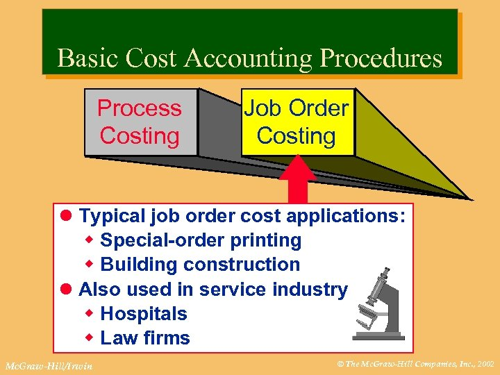 Basic Cost Accounting Procedures Process Costing Job Order Costing l Typical job order cost